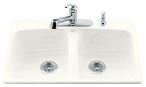 Brookfield Self Rimming Kitchen Sink in White with Five Hole Faucet Drilling modern-bath-products