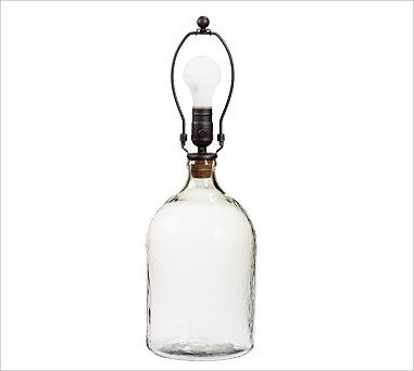 CFL Clift Glass Bottle Table Lamp Base, Small, Clear traditional-lamp-bases