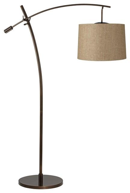 Tara tan weave shade balance arm arc floor lamp for Arc floor lamp with fabric shade