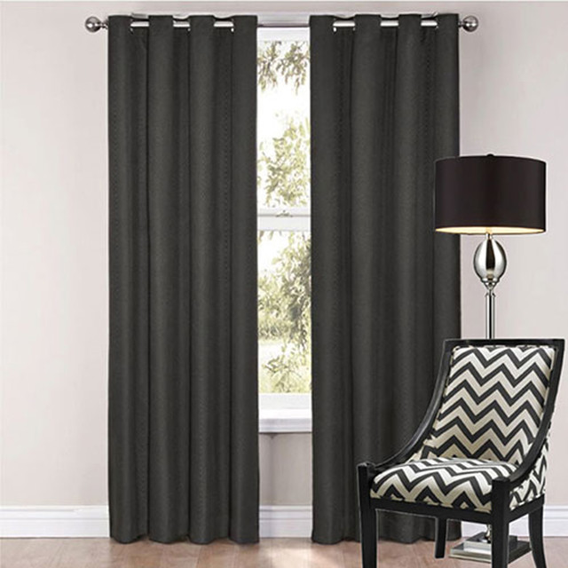 Sorrento blockout eyelet curtains black modern for Modern drapes and curtains