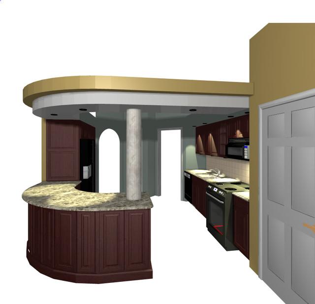 Kitchen with Tiered Soffitt modern