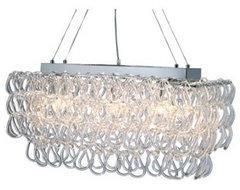 Glass Links Pendant Light Fixture Silver Chandelier contemporary-chandeliers