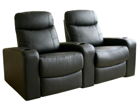 Baxton Studio - Baxton Studio Cannes Home Theater Seats (2) Black - Plush polyurethane foam cushions, hardwood construction, Leggett & Platt style reclining mechanism, plastic cup holders as added value, top grain leather on all the seating surfaces, vinyl leatherette matched to the back and sides.