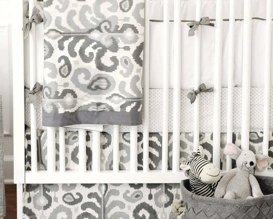 Rock Star Baby Girl's Nursery - Modern Gray Urban Ikat baby crib bedding for the nursery.