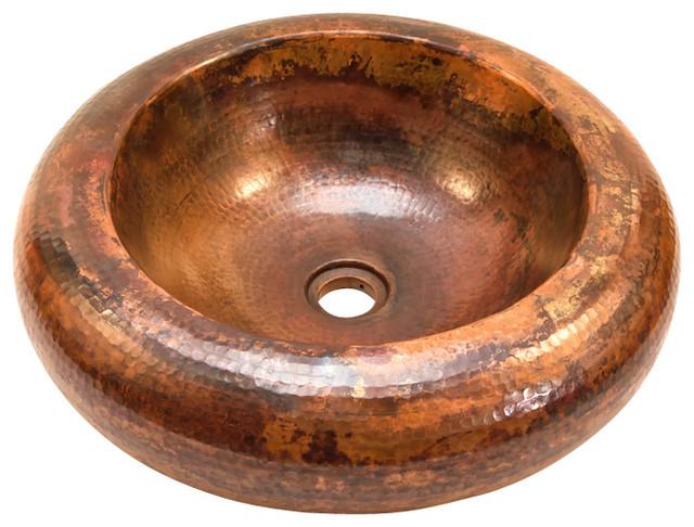 Round Double Wall Vessel Bathroom Copper Sink rustic-bathroom-sinks