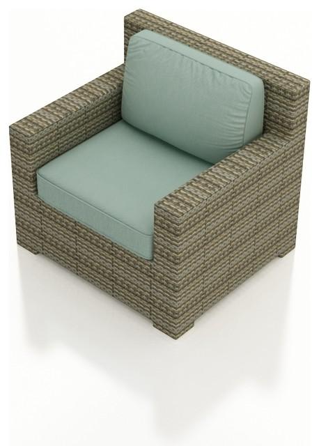 Hampton Modern Wicker Club Chair, Heather Wicker and Spa Cushions modern-outdoor-lounge-chairs