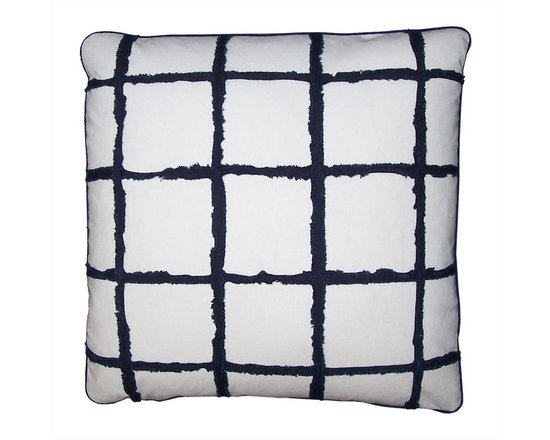Blue and White Window Pane Check Pillow Covers - High-end Custom and Ready made pillows available on-line. Blue and White Pillow Covers Embellished With a Window Pane Check Motif Created by Rows of Bias Cut Strips of Blue Cotton. Each Strip has been Frayed and Fringed Creating a Chenille Pattern. See Coordinating Pillows.  Couture Custom Workroom Services Available. Artisanaworks