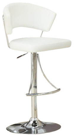 Monarch Specialties Contemporary Swivel Barstool with Hydraulic Lift in White contemporary-bar-stools-and-counter-stools