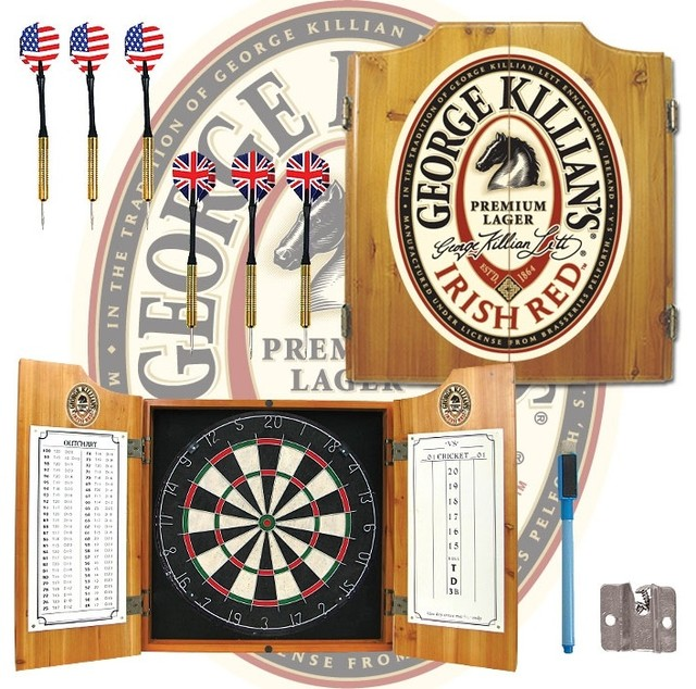 Fully Equipped Dart Cabinet with George Killi contemporary-darts-and-dartboards