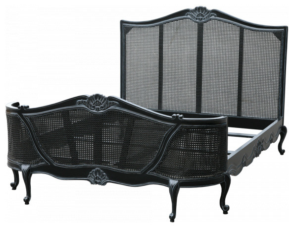 Tatum french farmhouse chic bed in black traditional for French farmhouse bed