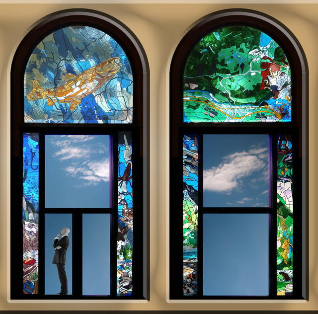Fairmont Chateau Lake Louise, stained glass windows traditional-windows