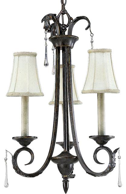 Progress Lighting P4153-84 3-Light Chandelier with Ireland Fabric Shades transitional-chandeliers