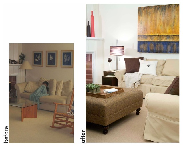 Before & After! Family Room traditional