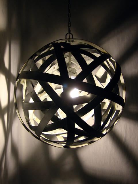 Orbits, urban chandelier, recycled wine barrel metal hoops, galvanized steel ban contemporary-pendant-lighting