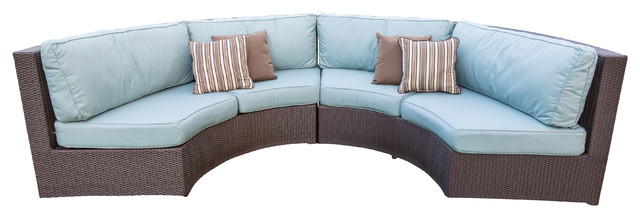 Terrace Collection Curved Sofa Sectional With Sunbrella