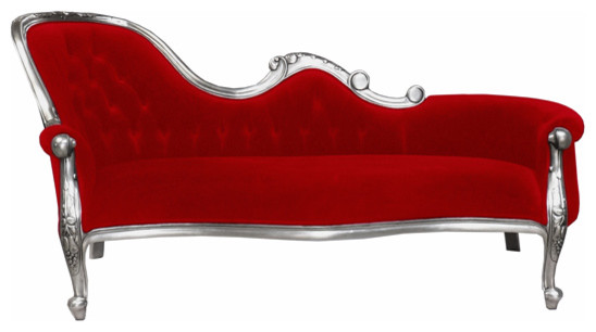 French Moulin Silver Chaise Longue in Chilli Red modern day beds and chaises