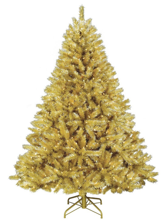 Toasted Champagne Gold Tinsel Artificial Christmas Tree -