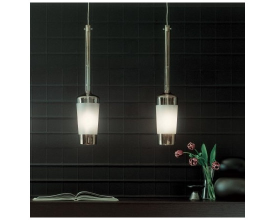 Luume Pendant Lamp by Penta Light - Luume Pendant Lamp by Penta Light. Lamps with chromed metal structure. Shade in transparent borosilicate glass with central sandblasted band to hide the bulb. Luume Pendant Lamp by Penta Light are designed by Umberto Asnago.