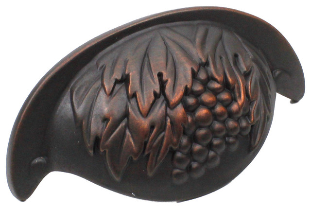 Vineyard Grape Cup Pull, Weathered Bronze / Copper - Traditional - Cabinet And Drawer Handle ...