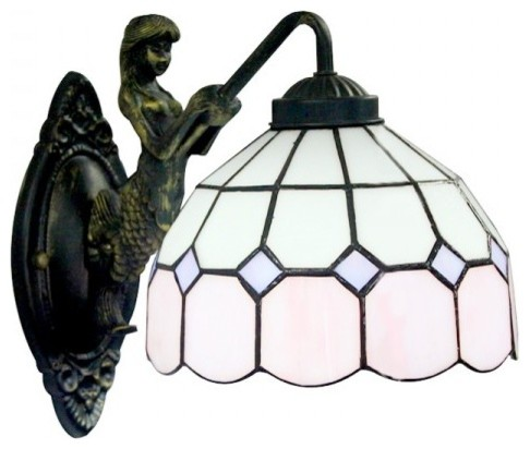 White Pink Pattern Tiffany Glass Iron Base Wall Sconces contemporary-wall-lighting