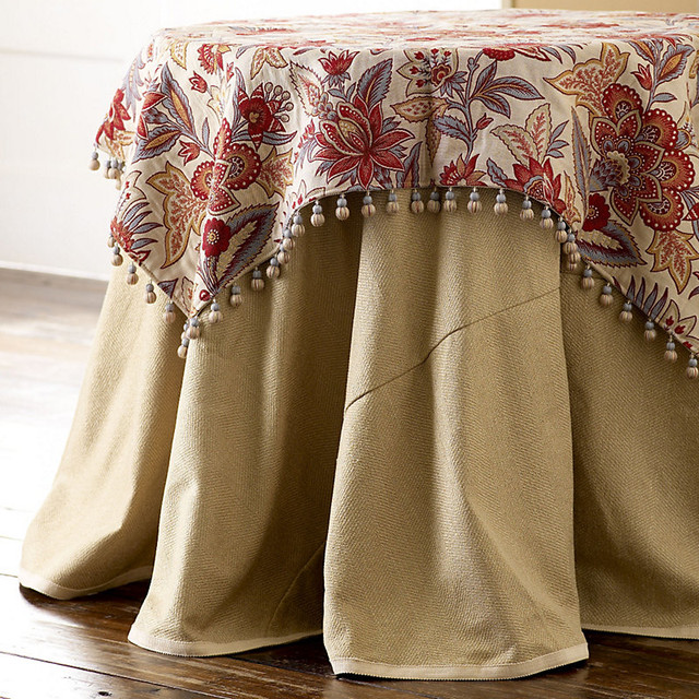 Herringbone Round Tablecloth 90 IN Tablecloth traditional-tablecloths