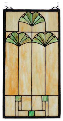 11 Inch W x 20 Inch H Ginkgo Windows modern-stained-glass-panels