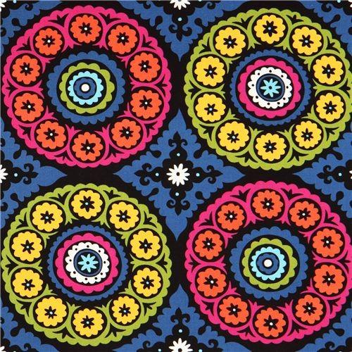 Black Designer Fabric Colourful Ornaments By Dear Stella