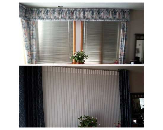 Client Projects - Amazing Before and After transformation of a Master Bedroom. Luminette privacy sheers from Hunter Douglas and custom side panels.