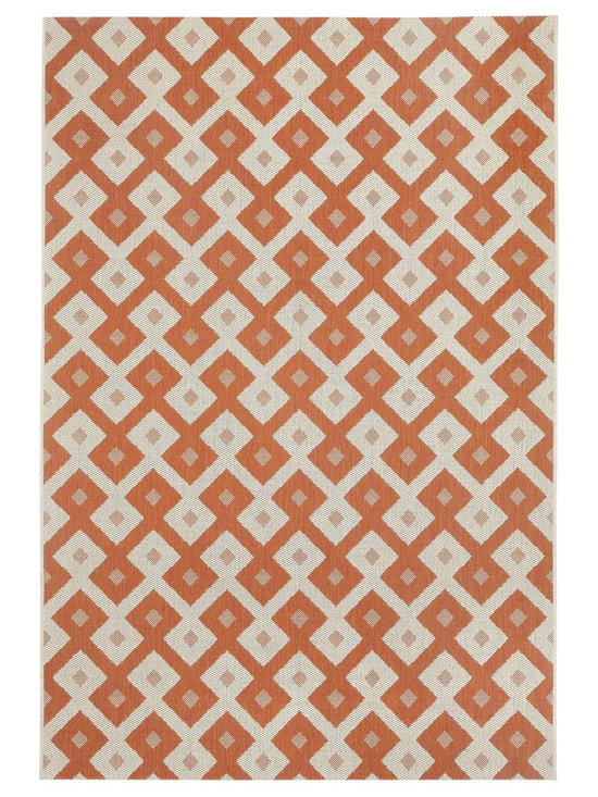 """Finesse Diamond rug in Persimmon - An esteemed """"Capel Anywhere"""" rug collection woven on precision machine looms in Europe. These versatile rugs can be used in high traffic areas indoors - like kitchens and sunrooms - or to dress up covered porches and decks outside."""