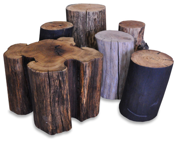 Solid Wood Log Stump Side Tables Eclectic Side Tables And End Tables