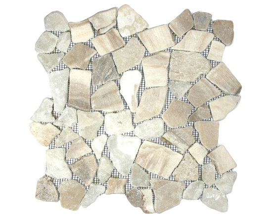"CNK Tile - Mixed Quartz Mosaic Tile - Each stone is carefully selected and hand-sorted according to color, size and shape in order to ensure the highest quality pebble tile available.  The stones are attached to a sturdy mesh backing using non-toxic, environmentally safe glue.  Because of the unique pattern in which our tile is created they fit together seamlessly when installed so you can't tell where one tile ends and the next begins!     Usage:    Shower floor, bathroom floor, general flooring, backsplashes, swimming pools, patios, fireplaces and more.  Interior & exterior. Commercial & residential.     Details:     Sheet Backing: Mesh   Sheet Dimensions: 12"" x 12""   Pebble size: Approx 3/4"" to 2 1/2""   Thickness: Approx 3/8""   Finish: Natural Quartz"
