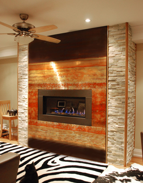 Living Room Feature Wall Decor: Copper Fireplace Feature Wall