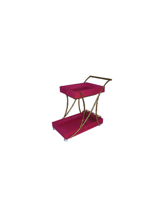 The Tipple Trolley, Gold/Pink - Bar carts are perfect in any home. They are great compact pieces to use for a small vignette. I love that this one is pink.