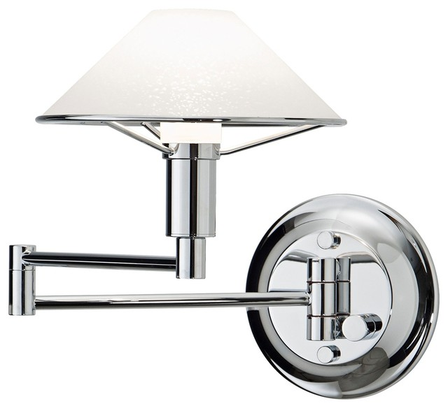 Holtkoetter Chrome with Satin White Swing Arm Wall Lamp contemporary-wall-lighting