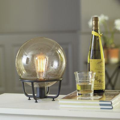 Seeded Globe Lamp eclectic-table-lamps