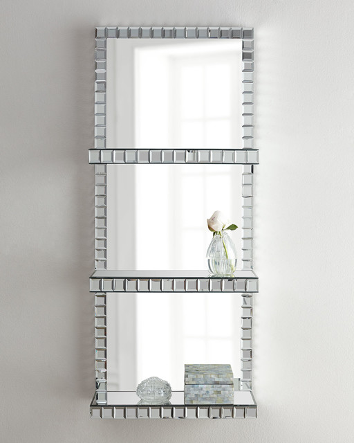 Mosaic-Border Mirrored Shelf Wall Panel - Tile - by Horchow