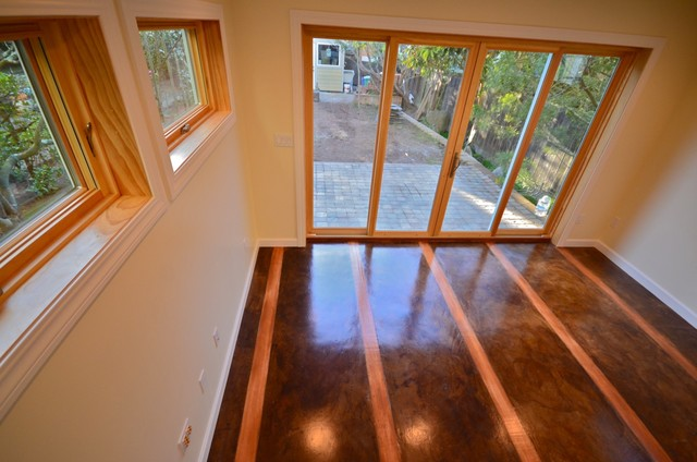 Stained Concrete Floor With Inlaid Wood
