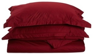 530 Thread Count Egyptian Cotton Full/Queen Burgundy Solid Duvet Cover Set traditional-duvet-covers-and-duvet-sets
