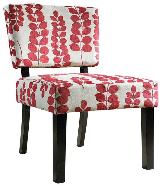 Powell Classic Seating Red And Cream Floral Oliver Accent Chair Traditional Living Room