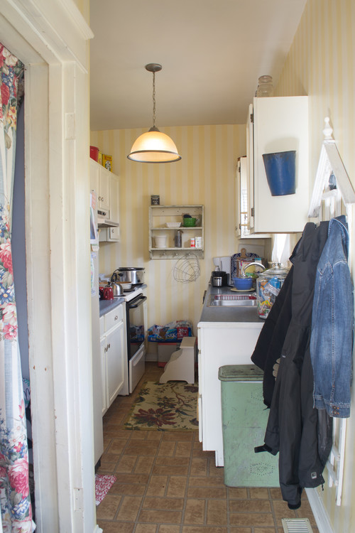 From a cramped galley kitchen to a fun and bright open plan for Galley kitchen open to dining room