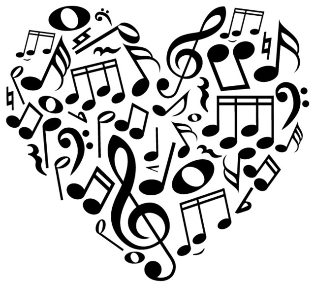 Music Notes Heart Wall Decal Contemporary Kids Wall