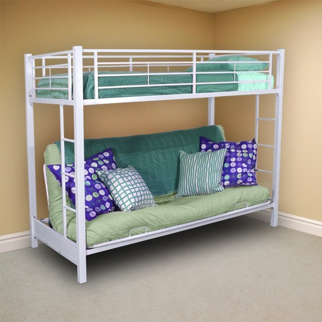Twin Bunk Bed Over Futon Sofa Contemporary Bunk Beds