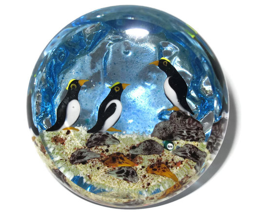 William Manson LE Upright Paperweight with Penguins, 2013 -