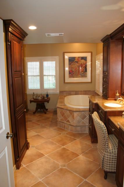 Elegant Master Bath With Warm Rich Tones Traditional