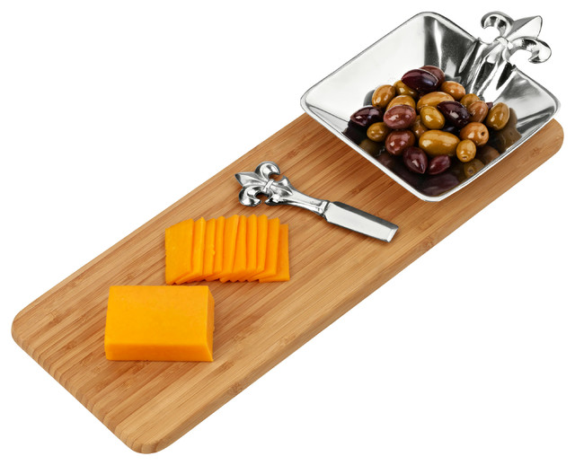 French Lily Bamboo Cheese Set traditional-platters