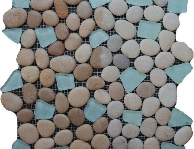 Sea Glass Tile And Pebbles Spring Brook Mosaic Blend, Box - Beach Style - Mosaic Tile - by ...