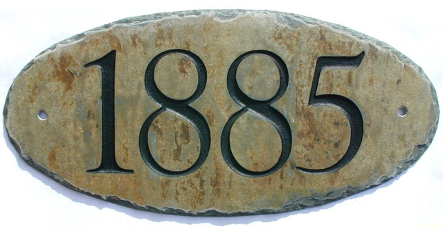 CARVED SLATE ADDRESS Plaque by T. Michael Studio traditional-house-numbers