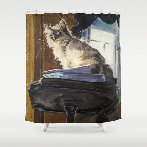 Shower Curtains: mauve, taupe, white  gold  & black eclectic-shower-curtains