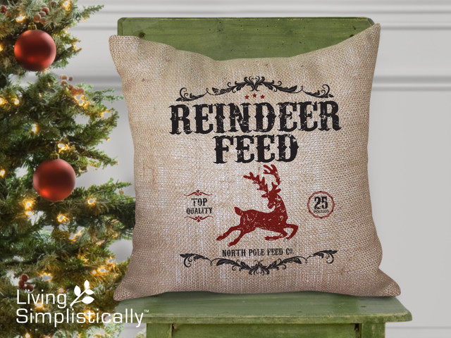 Reindeer Feed Burlap Pillow traditional-decorative-pillows