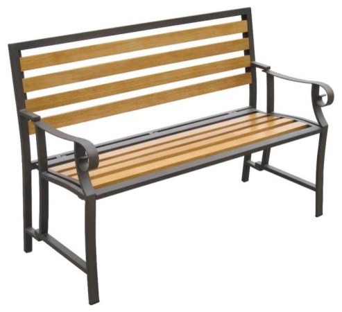 Portable Folding Garden Bench - Bronze Steel Frame and Wood Slats